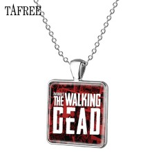 TAFREE The Walking Dead Pendant Necklace Retro Fashion Metal Necklace Attractive Charm Necklaces Pendant Chain Men Jewelry QF212(China)