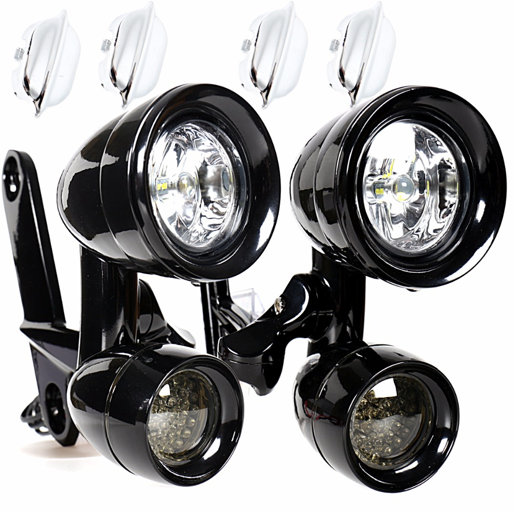 Gloss Black LED Fairing Mounted Driving Lights LED Smoked Turn Signals For Harley Electra Street Glide