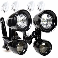 Gloss Black LED Fairing Mounted Driving Lights&LED Smoked Turn Signals For Harley Electra Street Glide FLH/T FLHX FLHR 1996 2013