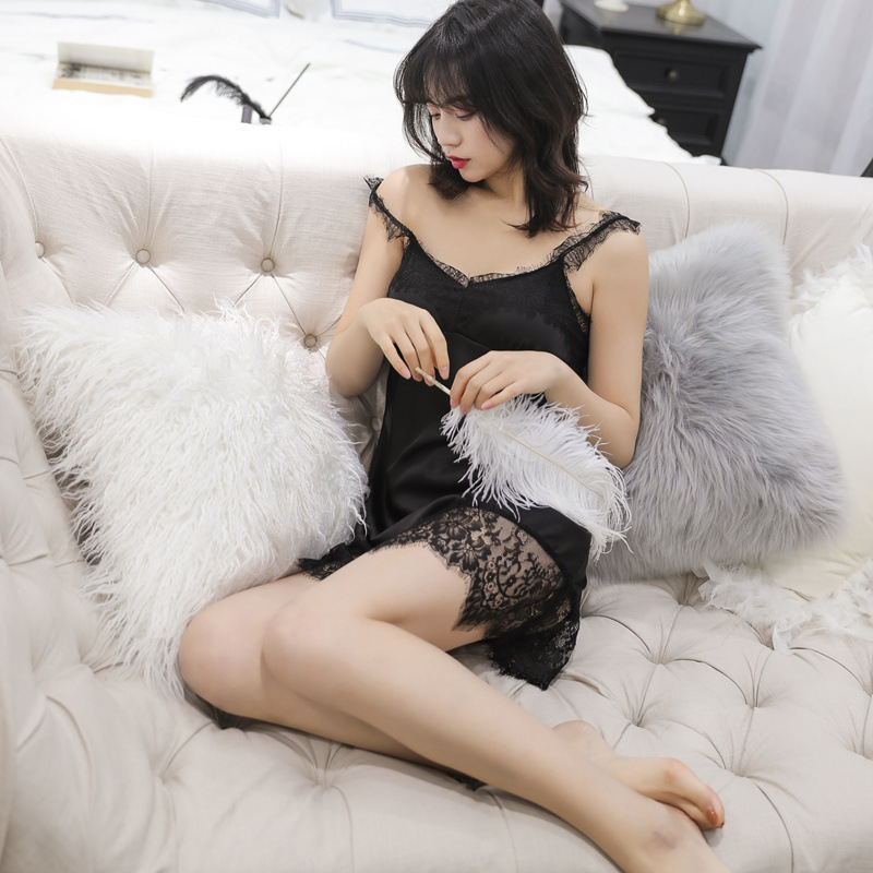 Nightgowns     Sleepshirts   Satin Sleepwear Sexy Spaghetti Straps Suspenders Women Ladies Night Dress Nightwear Nightdress Lingerie
