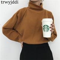2018 Autumn Korean Chic Oversize Jumper Mujer Solid Turtleneck Sweater Loose Knit Sweater Female Casual Sweater Pullovers hl321