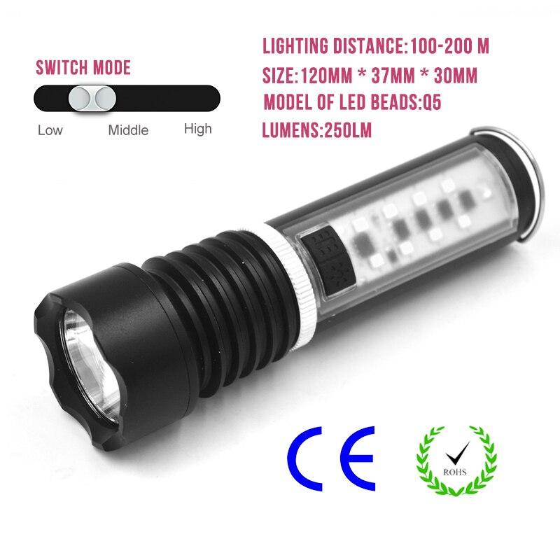 Portable Q5 Led Flashlight Work Light Strong Light Flashlight Charging Torch White Lamp Outdoor Emergency Night Lamp Camping