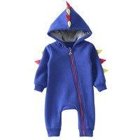 MUQGEW Baby Clothing 2017 New Newborn Baby Boy Girl Romper Long Sleeve Zip Dinosaur Clothes Warm