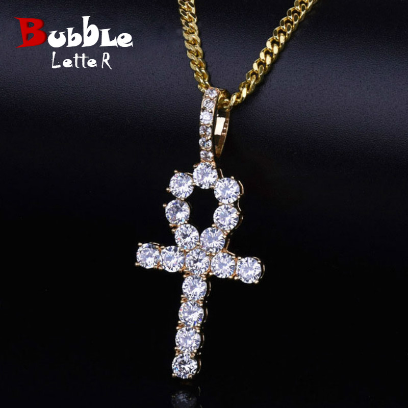 Ankh Cross Pendant Gold Color Hip Hop Jewelry