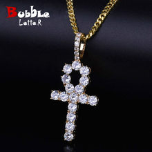 Iced Zircon Ankh Cross Pendant Gold Silver Copper Material CZ Egyptian Key of Life Pendant Necklace Men Women Hip Hop Jewelry(China)