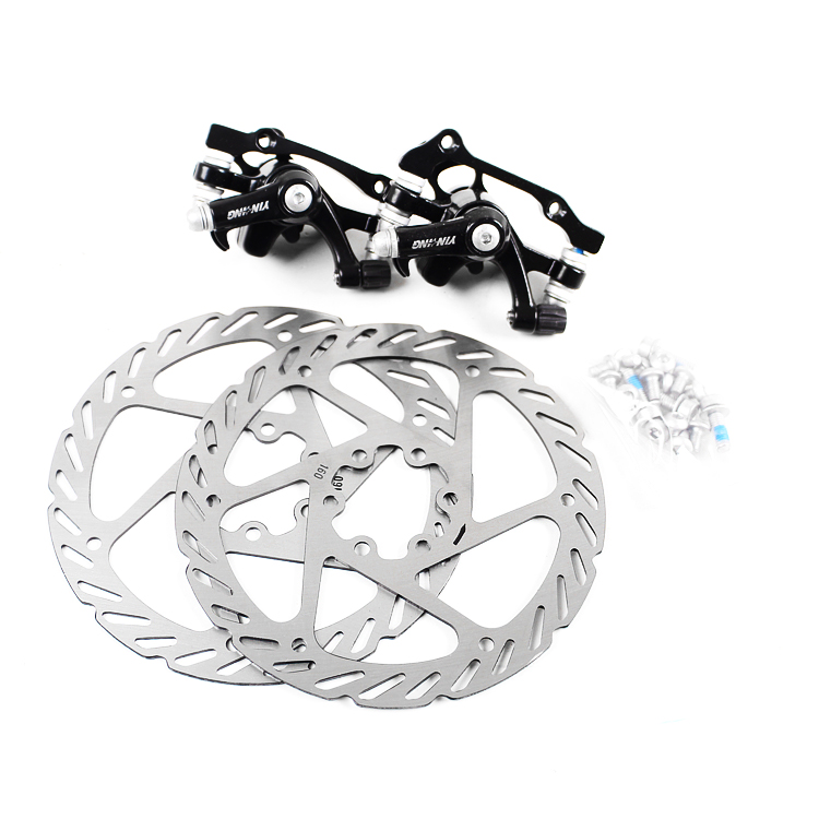 Mbt Mountain Bike Bicycle Disc <font><b>Brake</b></font> set Stainless Steel Front Rear Wheel <font><b>Brake</b></font> Rotor With Cliper F-180mm/R-160mm F-160mm/R-140