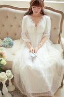 Soft Gauze Lace Vintage Nightgown Elegant Noble Goddess Long Nightdress High Quality Princess Nightgown Ladies Sleepwear