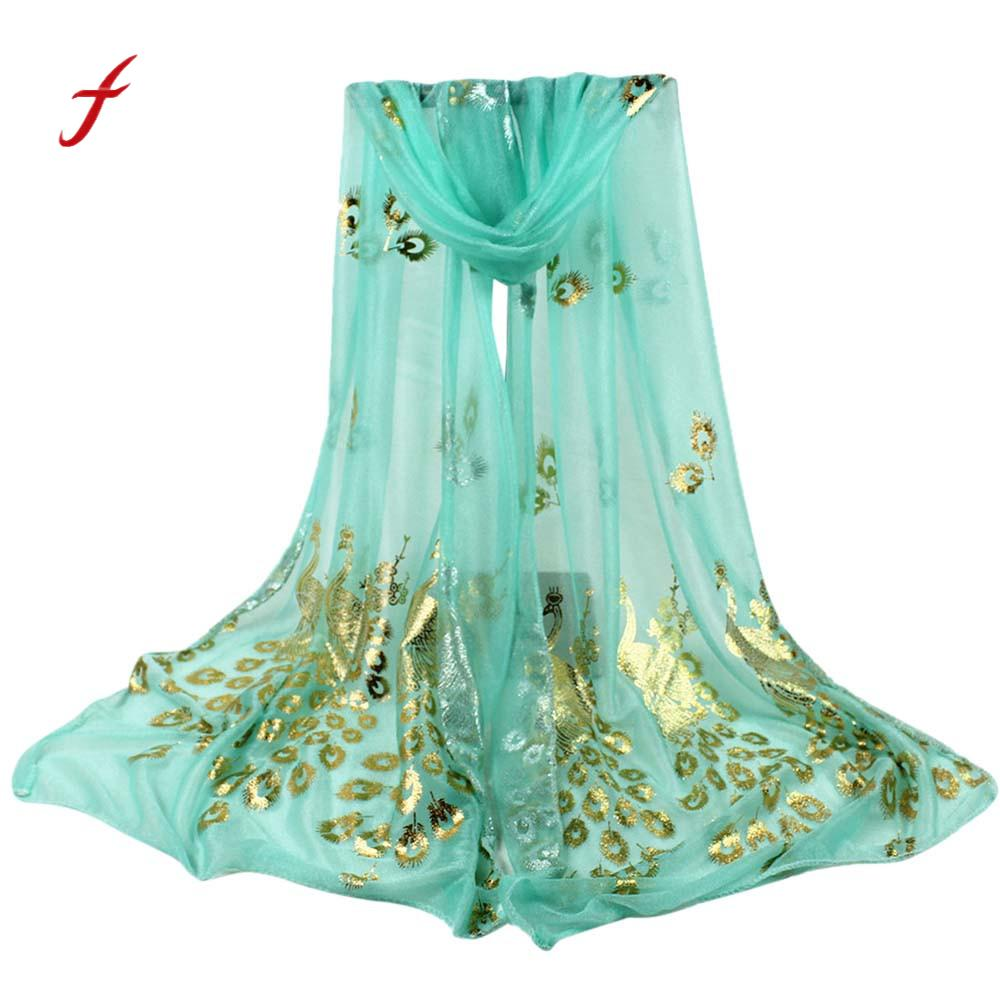 FEITONG Female scarf Women Lady Multi-color Peacock Flower Scarf Long Soft Wrap Shawl Stole Pashmina New Spring Fashion Scarve