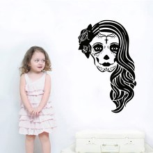 Hot Sell Wall Decals Skull Girl Face Decal Horror Living Room Window Vinyl Mural Art Home Decoration Bedroom Decals  A-54 sweet tea decals just a hogwarts girl living in a muggle world