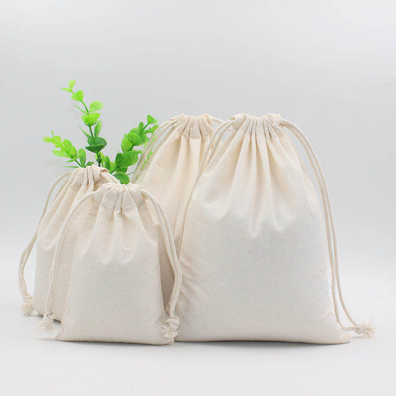 2 Pcs Cotton Pouch Wholesale Storage Bag Logo Printed Drawstring Bags Food Packing Bags Christmas Gifts Pouch