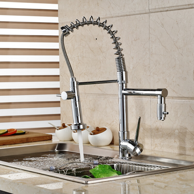 Deck Mount Dual Sprayer Nozzle Kitchen Faucet Chrome Brass Rotation Spring Kitchen Mixer Taps Dual Spout swivel spout deck mount kitchen spring mixer faucet single handle dual sprayer nozzle water taps chrome finish