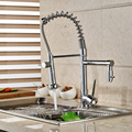 Deck Mount Dual Sprayer Nozzle Kitchen Faucet Chrome Brass Rotation Spring Kitchen  Mixer Taps Dual Spout