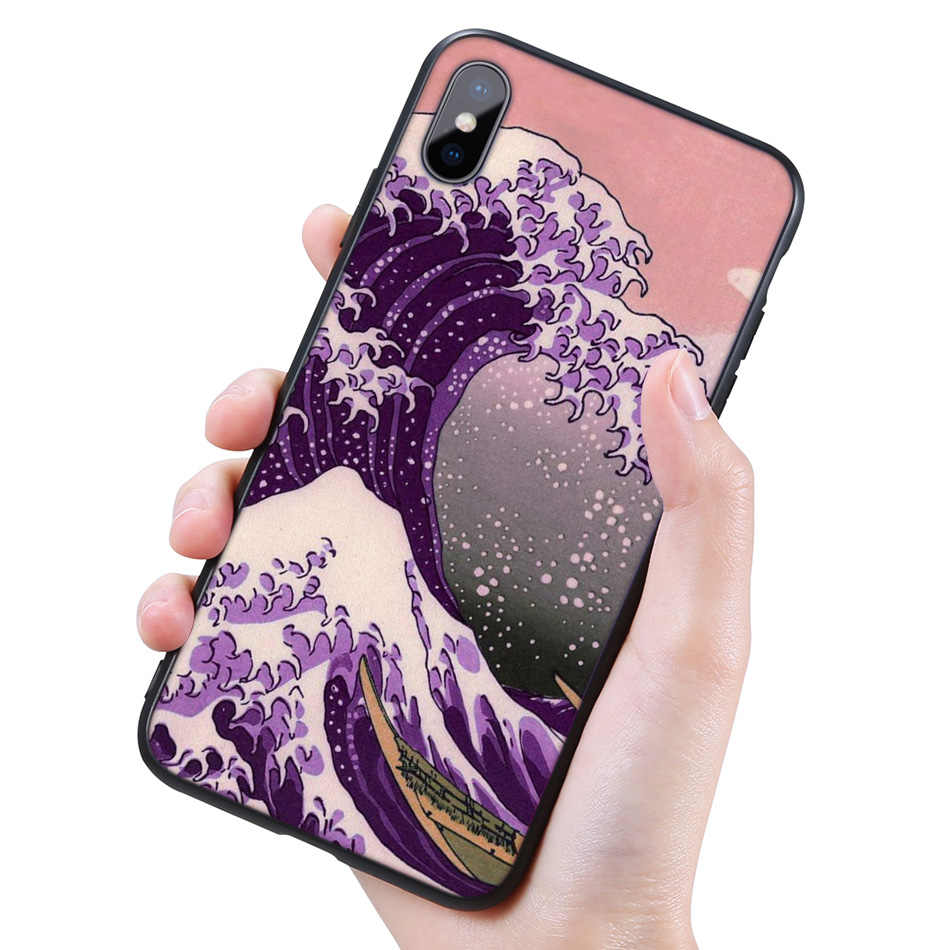 Silikon Schwarz Coque Fall für iPhone 11 Pro XR X XS MAX 7 8 6 6S Plus 5 5S SE 5C 7Plus 8Plus Handy Hokusai Die Große Welle