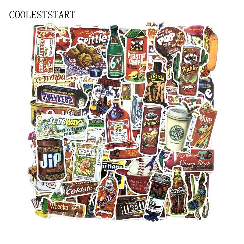 75Pcs/lot Snacks And Drinks Packaging Stickers For Skateboard Laptop Luggage Fridge Phone Toy Car Styling Doodle Car Sticker