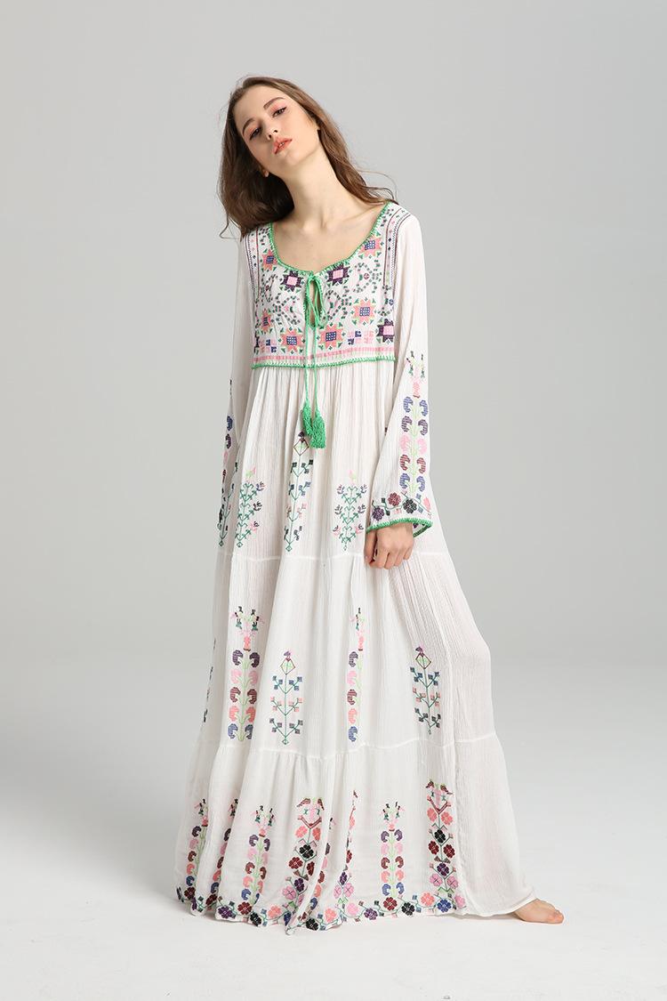 916a5a7e7db LXUNYI Women Embroidery Dresses Long Sleeve White Cotton Dress 2019 Spring  Bohemia Fashion Ladies Drawstring Flower Maxi Dress