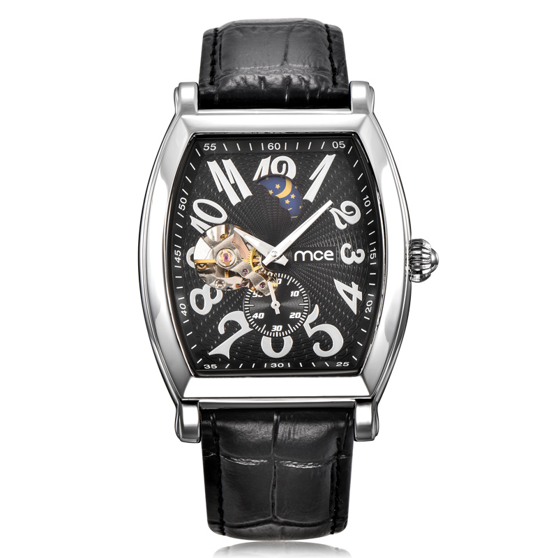 ФОТО Fashion Mens Skeleton Watch Brand MCE Waterproof Flying Tourbillon Watch Men Classic Black Mechanical Auatomatic Relojes Hombre