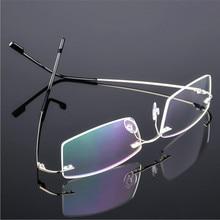 cc07799c2 Clássico Dos Homens De Titânio Armações de Óculos Sem Aro, Templo da Mola  Miopia Frame Ótico, Sem Moldura Ultra-leve Óculos F858