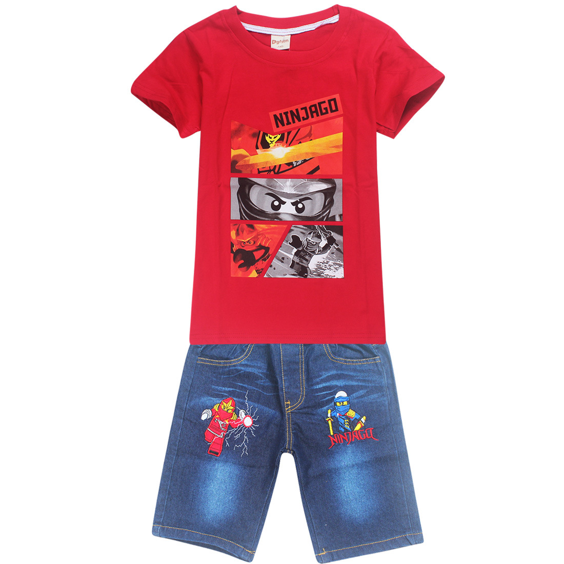 a142be56376af Children Ninjago Clothing Sets Costumes For Boys Clothes Summer Toddler  T-shirt+Jeans For Sport ...