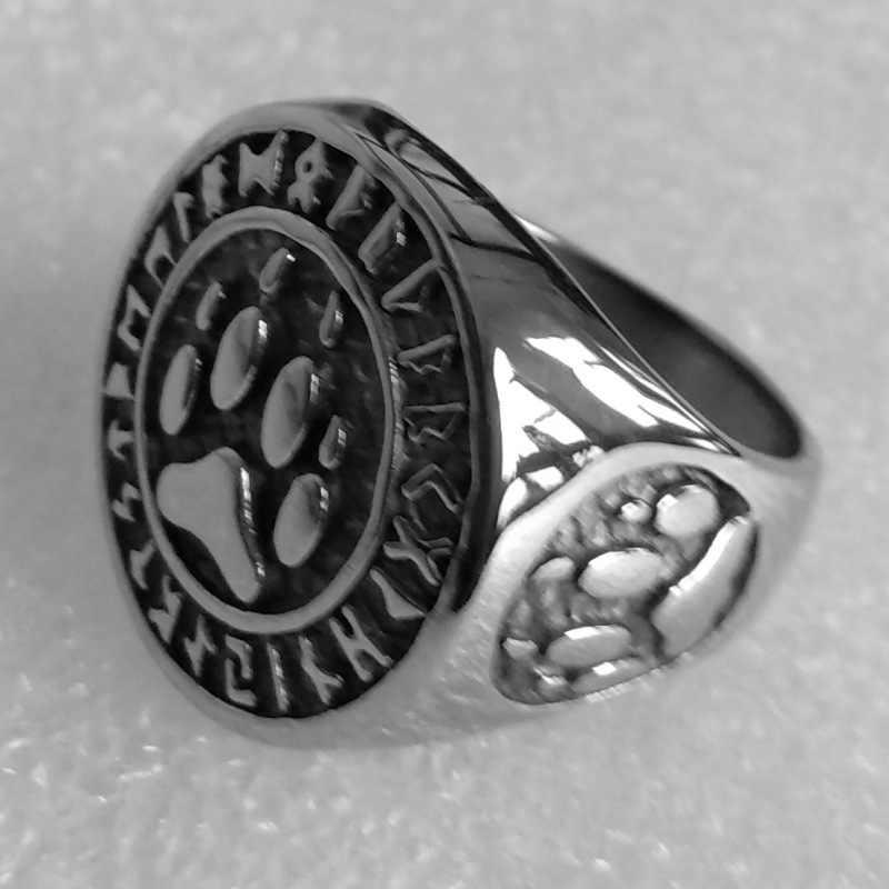 Серебряный цвет Викинги норвежский амулет медведь кольцо в виде лапы ювелирные изделия из нержавеющей стали узел талисманы когти моторный Байкер мужское кольцо