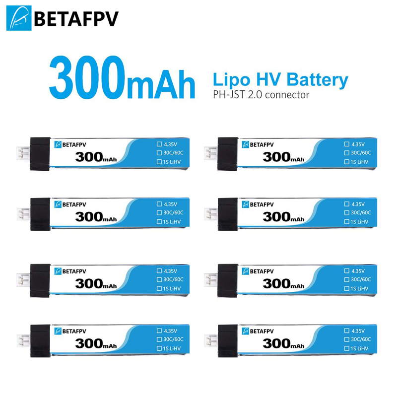 BETAFPV 300mAh HV 1S Lipo Battery 30C 4.35V With JST-PH 2.0 Powerwhoop Connector For Tiny Whoop Blade Inductrix