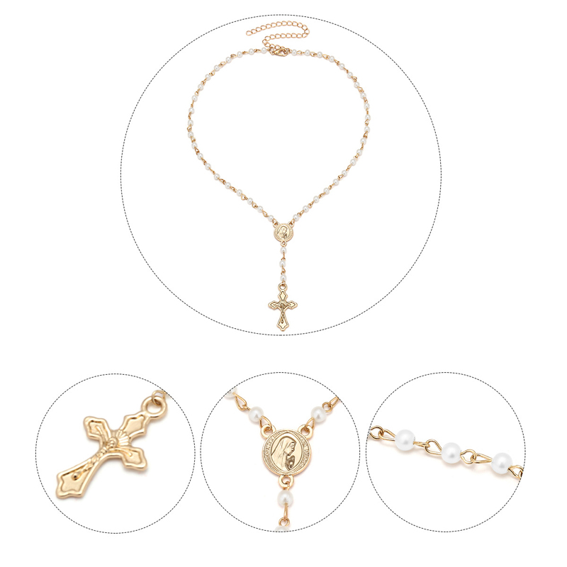 d74e0502b4e0 Oro católica Rosario Cruz collares colgantes mujeres gargantilla ...