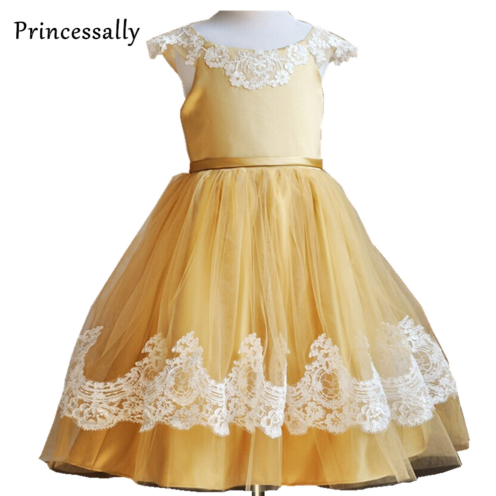 Unusual gold and white flower girl dresses gallery wedding and online shop cheap flower girl dress gold white lace hem baby girl mightylinksfo Gallery