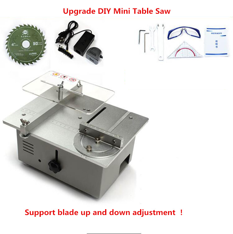 Upgrade DIY Mini Table Saw Mini desktop cutting machine bench saw Woodworking saw lathe Y mini hobby table saw woodworking bench saw diy handmade model crafts cutting tool with power supply hss 60mm circular saw blade