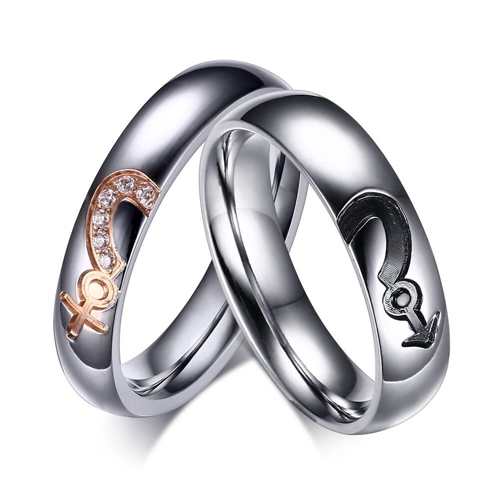 2017 Charm Inlaid Zircon Titanium Steel Male & Female Sign Love Heart Puzzle  Design For Couple