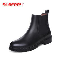 2016 SUBERRY Brand Designer Women Shoes Slip On Ankle Boots Round Toe Flat Short Boots Pure Color No Decoration Big Size 33-42