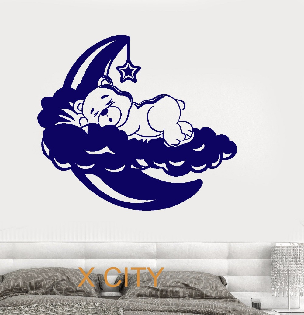 Bedroom wall decoration for kids - Cute Sleeping Bear On The Moon For Children Kid Bedroom Wall Art Decal Sticker Removable Vinyl