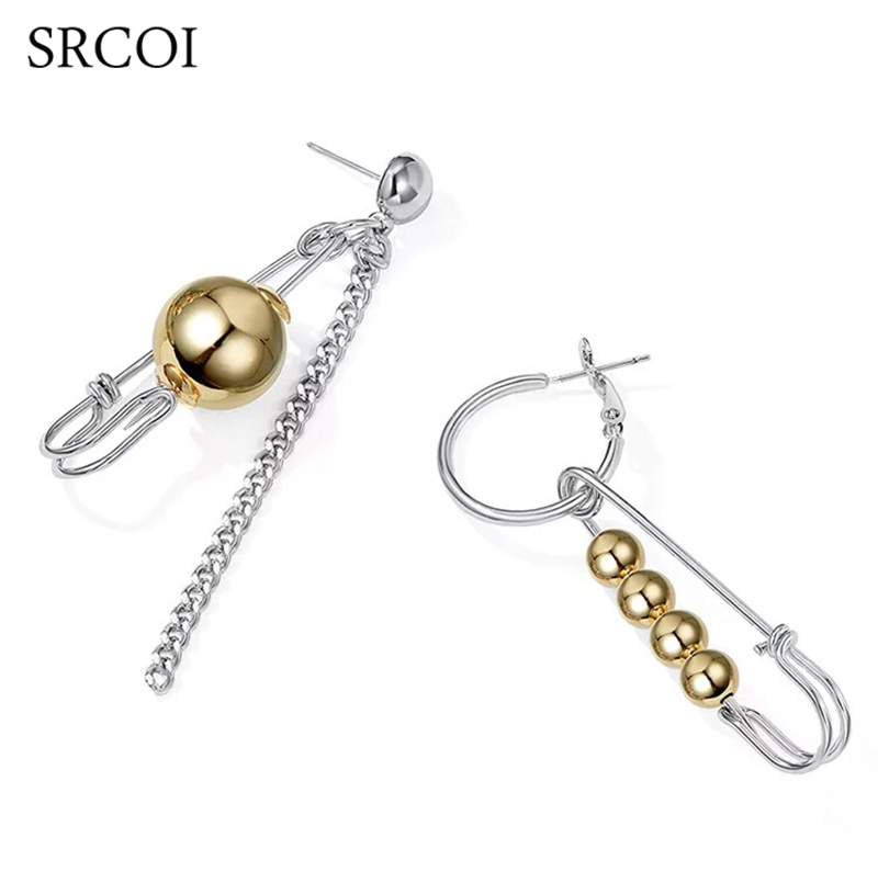 SRCOI Punk Safety Pin Long Chain Earring Drop With Alloy Ball Asymmetric Earrings Personality Long Hanging Womens Jewelry 2018