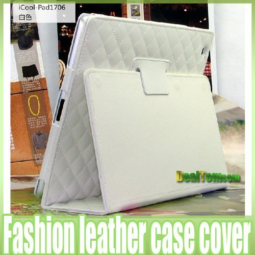 Stylish Smart Full Body Cover Leather Case with Stand white for ipad 2 Free shipping