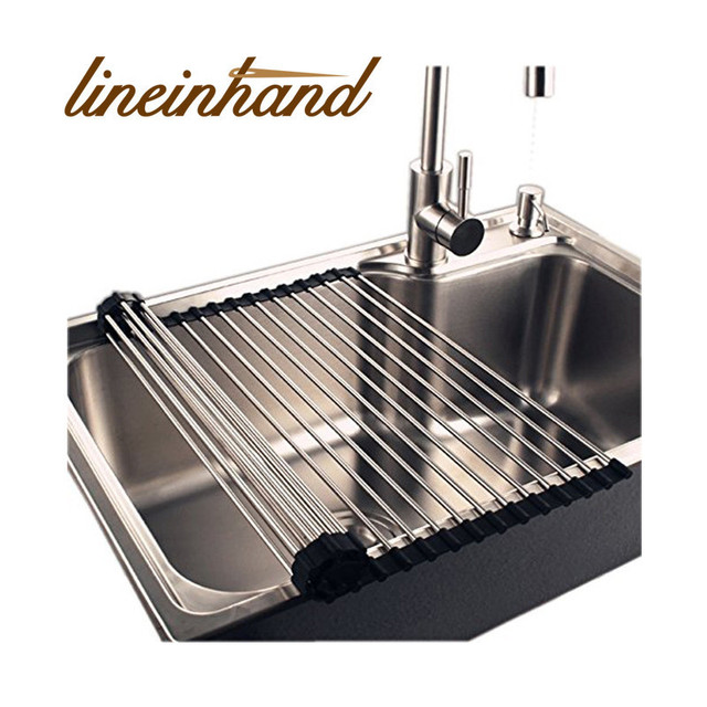 Large Roll Up Stainless Steel Drying Rack Over The Sink Kitchen Dish Drying  Drainer/Mat