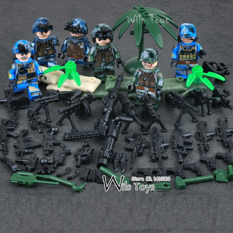 6pcs Navy Army Air Force Military WW2 SWAT Seals Team Soldier Heavy Fire CS Building Blocks Figures Educational Toys Boys Gifts 4pcs high quality 1 10 rally car wheel rim and tire for 1 10 tamiya hsp hpi kyosho 4wd rc on road car