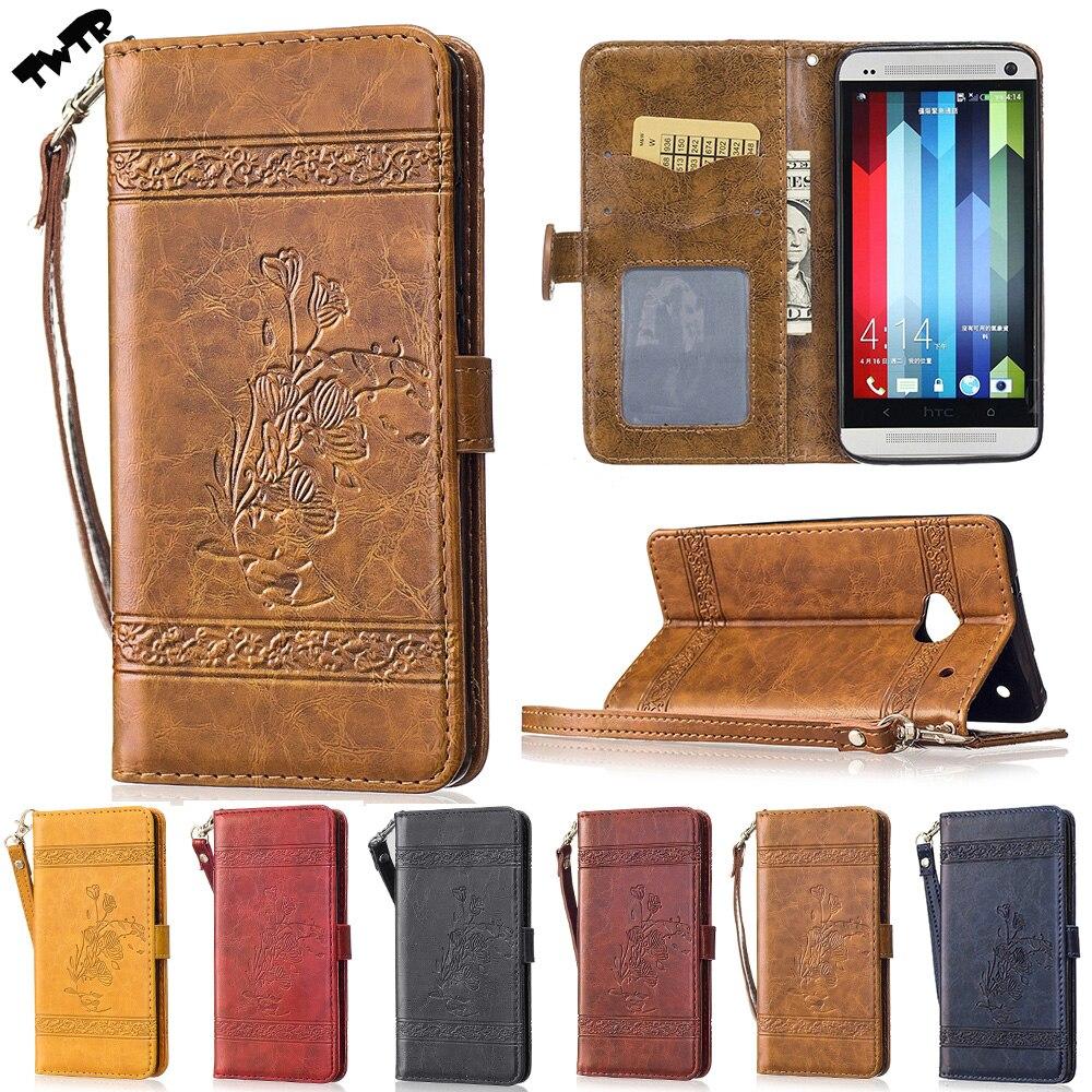 Huile Cire Lignes Rose Flip Cas pour HTC M7 M 7 Double Sim 801e 801 s 801n Cas Téléphone Couverture En Cuir pour HTC One LTE 802 802d 802 t Cas