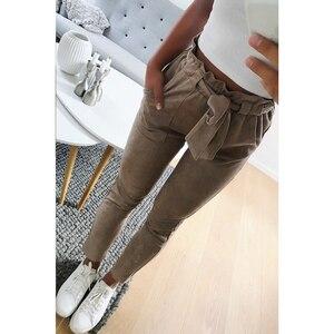 Image 5 - סגנון חדש 2019 אופנה נשים זמש מכנסיים גבירותיי מכנסי עור נשי מכנסיים מזדמנים אדום יין מכנסי עיפרון גבוה מותן מכנסיים