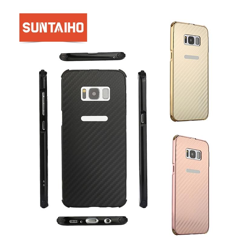 Suntaiho In Fibra di Carbonio Duro Della Copertura Posteriore Antiurto Cassa del telefono Per Samsung Galaxy S8 Più Il Bordo del Coperchio di Alluminio del Metallo di caso della Pagina s8