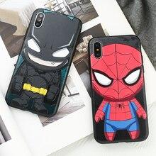 Cute Cartoon Marvel Superman Spiderman Phone Cover Case For Iphone X Xs Max Xr 10 8 7 6 6s Plus Soft Siliconer Coque Fundas