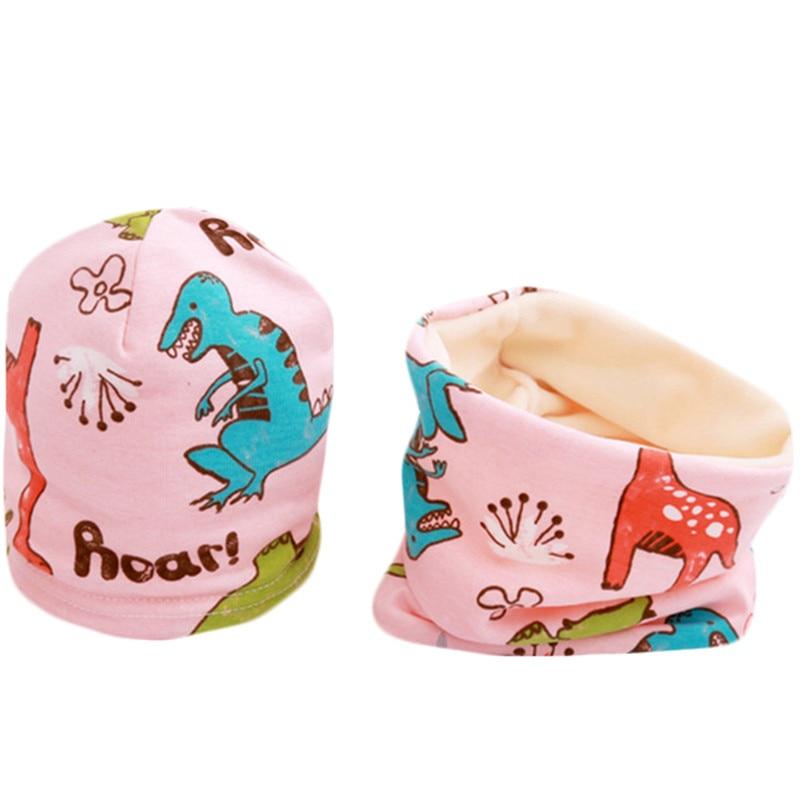 New Cartoon Plush Girls Hat Scarf Set Fruit Owl Stars Print Baby Boys Hat Children Hats Scarf-Collar Sets Cotton Kids Caps Set
