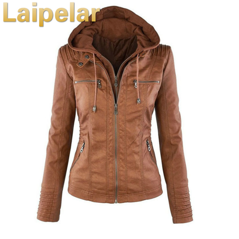 2018 Fashion Winter Faux Leather   Jacket   Women's   Basic     Jackets   Hooded Black Slim Motorcycle   Jacket   Women Coats Female XS-7XL