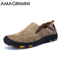 AMAGINMNI Winter Shoes Men Casual Leather Shoes 2018 New Fashion Shoes Keep Your Feet Warm Men