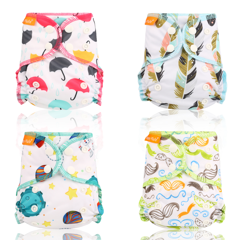 Happy Flute Waterproof And Reusable Organic Cotton Newborn AIO Cloth Diapers Nappy