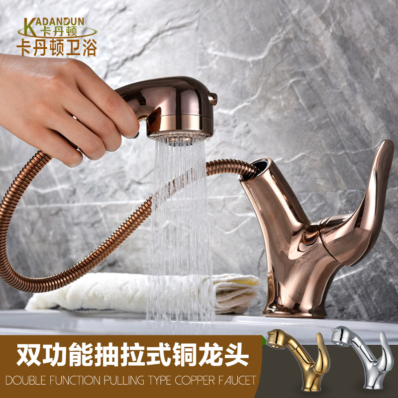 Copper Hot and Cold Pull Basin Faucet Rose Gold Retractable Wash Basin Faucet Single Handle Double Control Bathroom Faucet FR-25 pull the kitchen faucet hot and cold all copper single handle double control rotary groove faucet faucet ceramic spool lu50511
