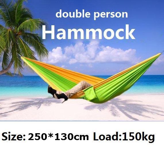 PSKOOK Outdoor Travel Double Hammock Camping Survival Hammock Parachute Cloth 250*130cm 1set