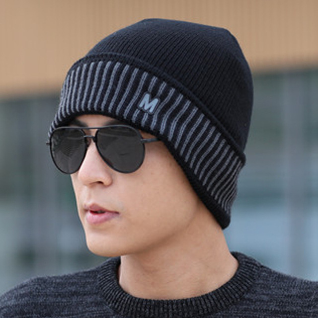 2017 Brand Winter Beanies Men Winter Hats Male Knitted Hat Bonnet Fashion  Caps Skullies Black Mask f74f445c146