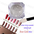 BORN PRETTY 1g Mirror Silver Glitter Powder Chrome Rose Gold Effect + 1 Pc Soak off UV Gel Polish Set Manicure Nail Decoration
