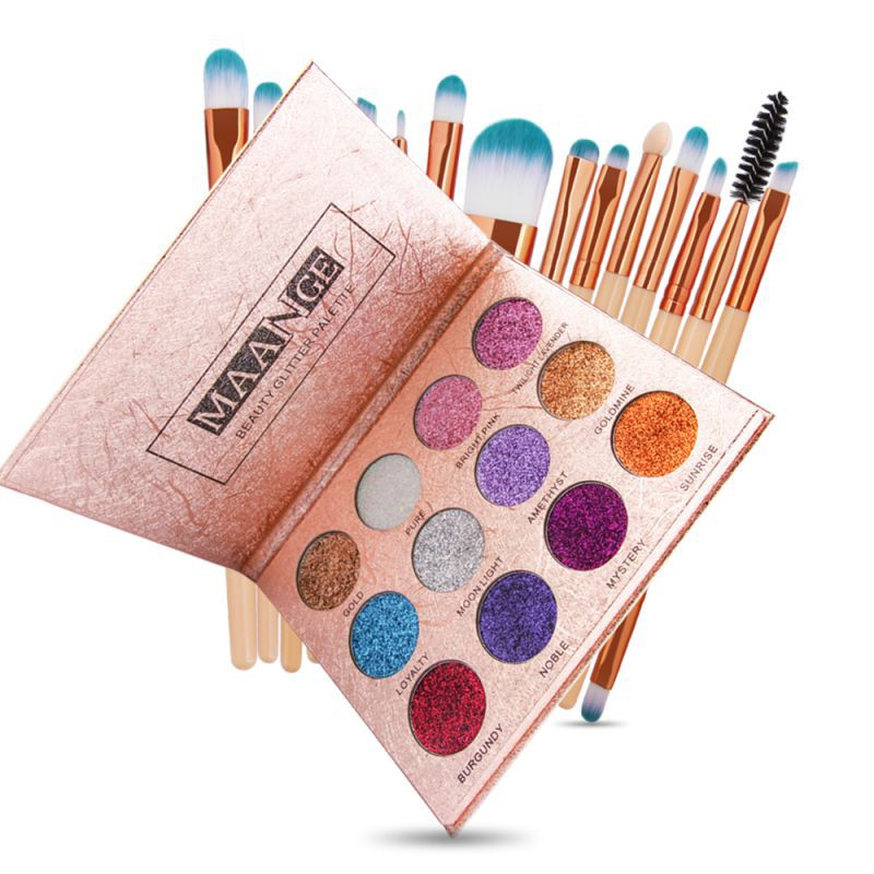 Valor feminino 15 pcs pincéis de maquiagem cosméticos kit tools set + 12 cores diamante ímã paleta de brilho sombra de olho brilhante ferramenta de maquiagem