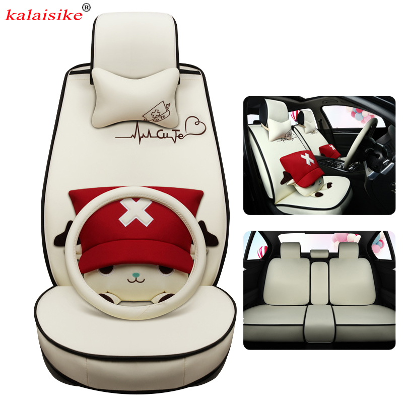 Kalaisike Cute Cartoon Flax Universal Car Seat Covers Fit