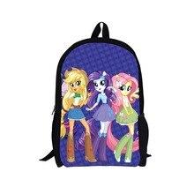 Forudesigns/Повседневная женская рюкзак милый пони Back Pack для колледжа для девочек 3D мультфильм сумки мужчины Дорожная сумка Детская школа Bagpack