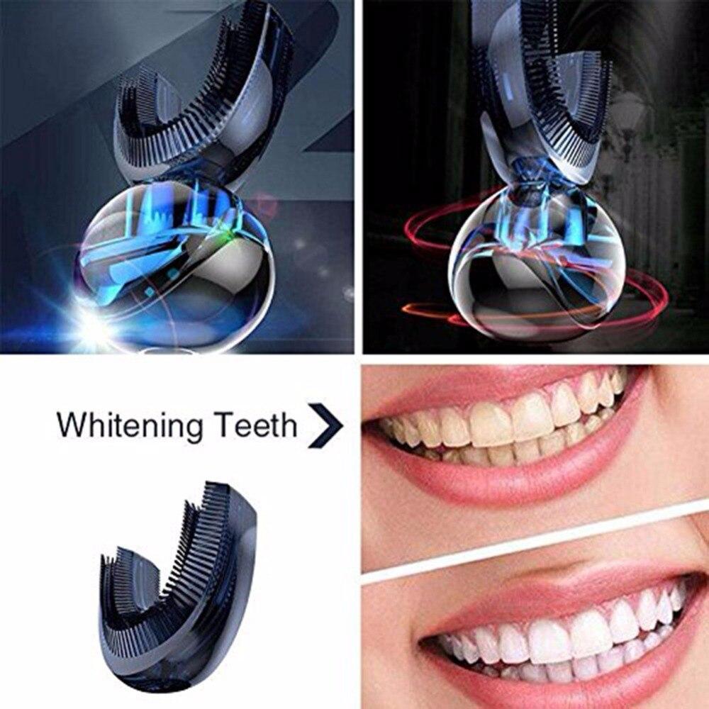 1 set 360 brosse à dents automatique blanchissant brosse à dents électrique automatique avec Double tête - 2
